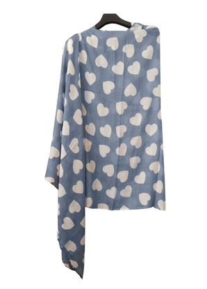 Picture of Hogaz Blue Wool Scarf White Heart